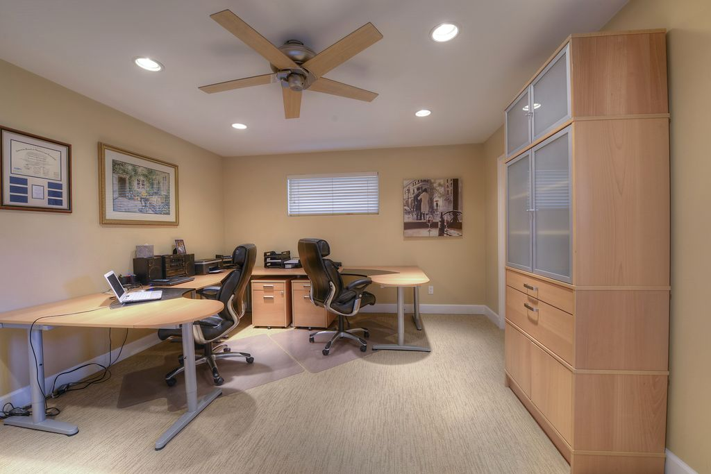 modern home office with ceiling fan carpet ikea bekant corner table top left - Ikea Modern Home Office