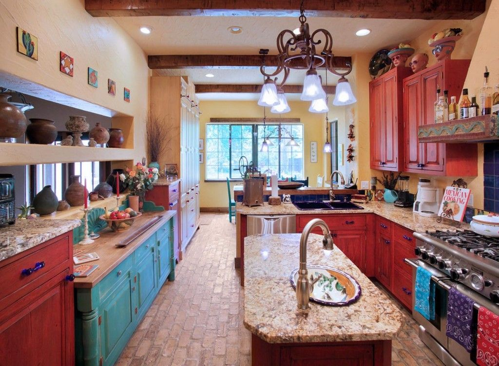 Southwestern Kitchen With Inset Cabinets, Brick Floors, Drop In Sink,  European Cabinets
