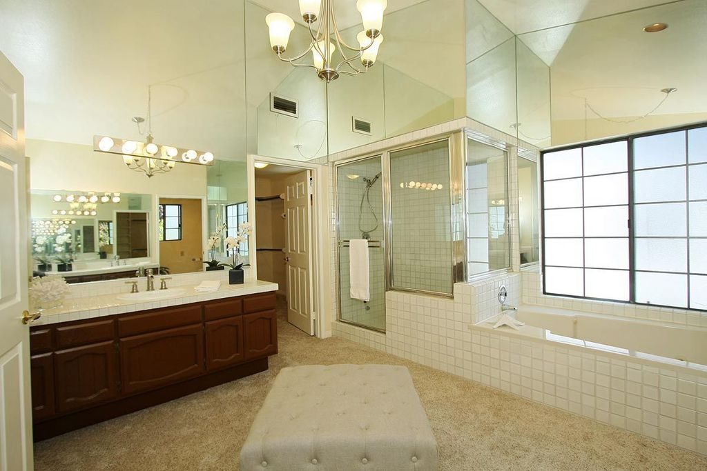 Modern Master Bathroom With Handheld Shower Head, Chandelier, Kichler  Lighting   6 Light Bathroom