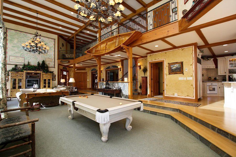 Craftsman Game Room With High Ceiling Metropolitan By Minka