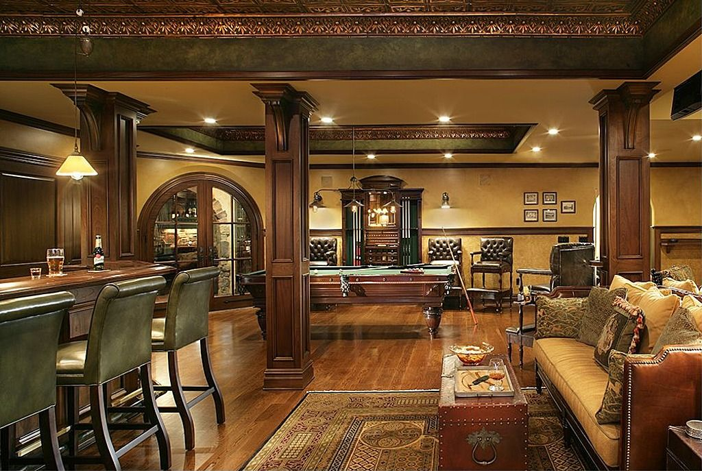 Traditional Man Cave With Hardwood Floors Amp Chair Rail