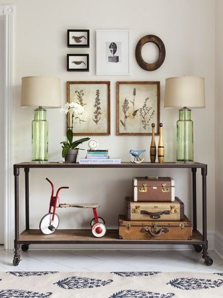 Eclectic Hallway With Ballard Designs Florence Indoor Outdoor Rug Butler Mountain Lodge Console Table