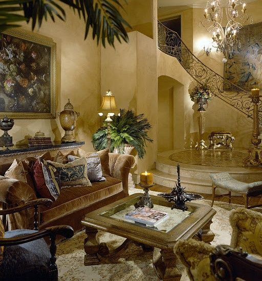 Mediterranean Living Room With High Ceiling & Balcony