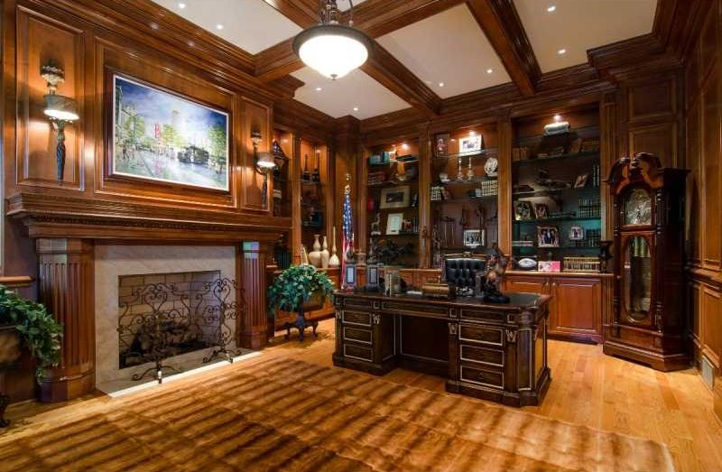 Traditional Home Office with Crown molding & stone fireplace ...