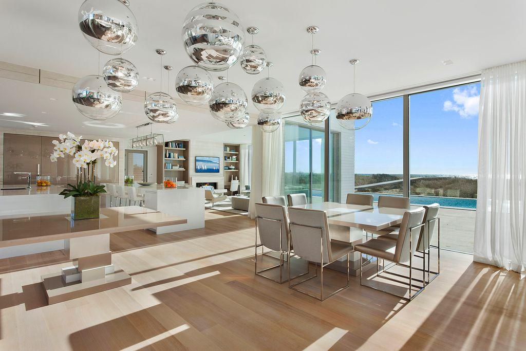 contemporary dining room pendant lighting. contemporary dining room with hardwood floors zebra chrome pendant light by viso lighting e
