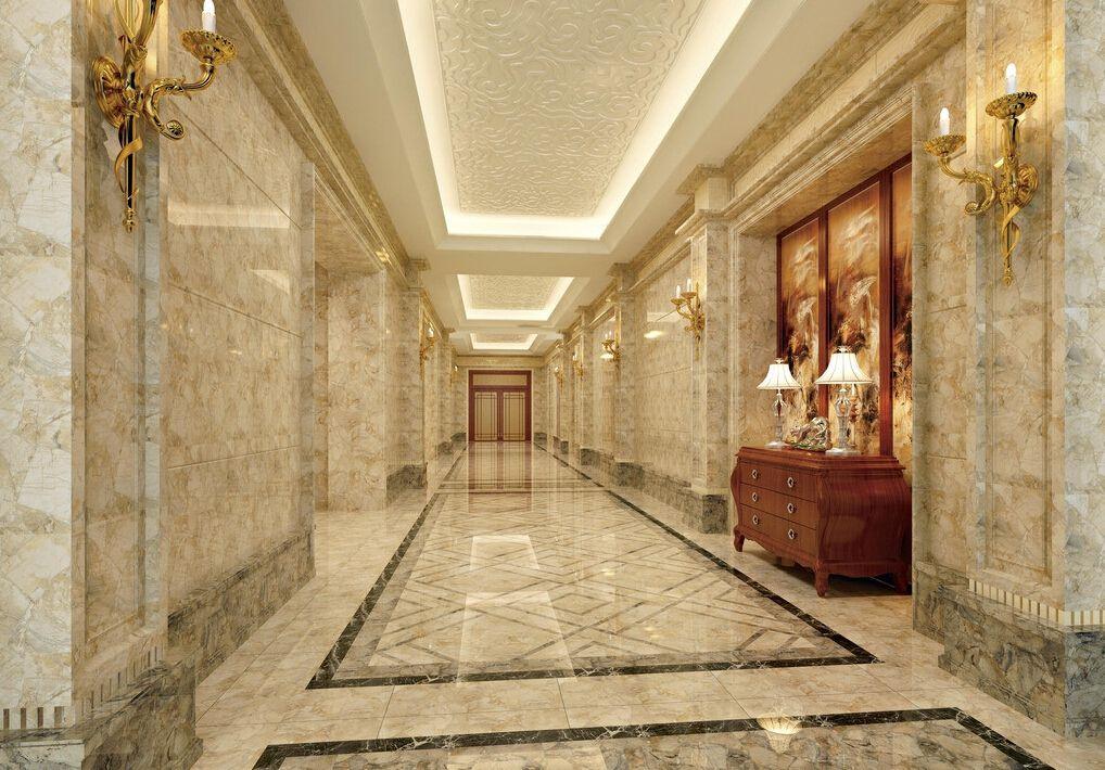 traditional hallway with  plex marble tile floors
