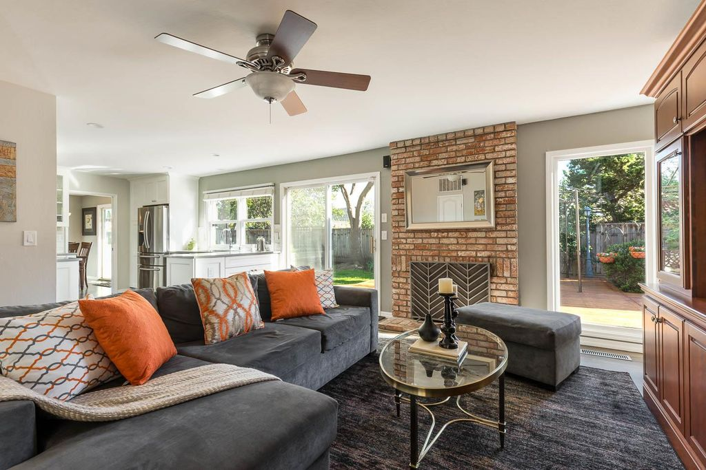 Traditional Living Room With 3 Light Crosley Flushmount Ceiling Fan West Elm Urban 2