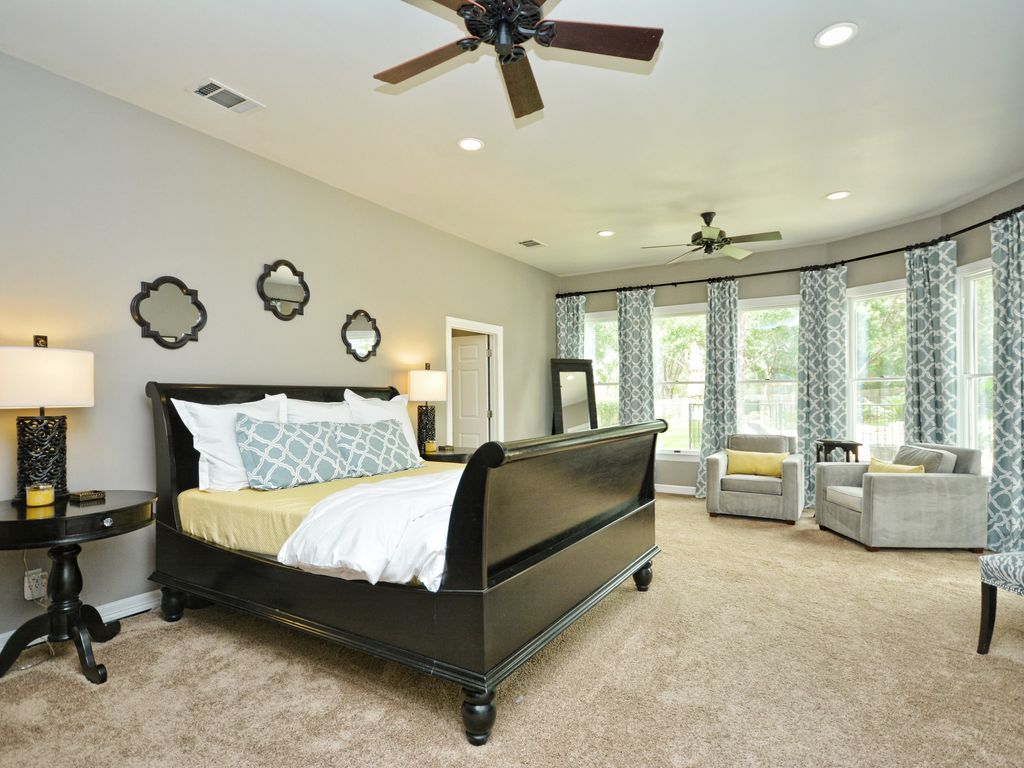Transitional Master Bedroom With Ceiling Fan, Bailey Street   Gulliver Wall  Mirror, Carpet,