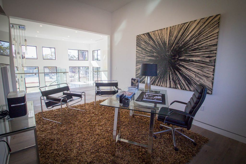office shag. Modern Home Office With Leather Shag Saddle Area Rug, Knoll - Wassily Chair, Mason