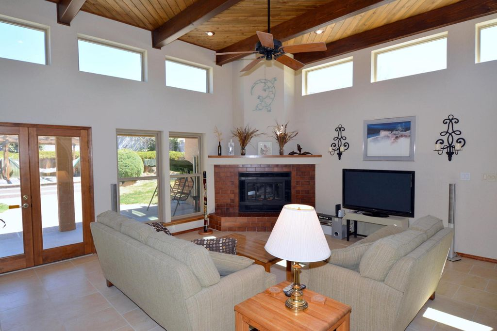 Contemporary Living Room With Mural Ceiling Fan High Metal Fireplace Wall