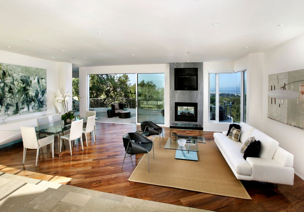 Modern living room with hardwood floors by dnm architect for Modern living room hardwood floors