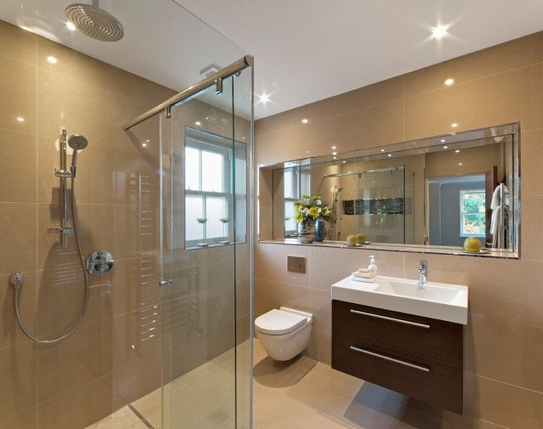 Modern 3 4 bathroom with rain shower head by omar for Bathroom ideas zillow