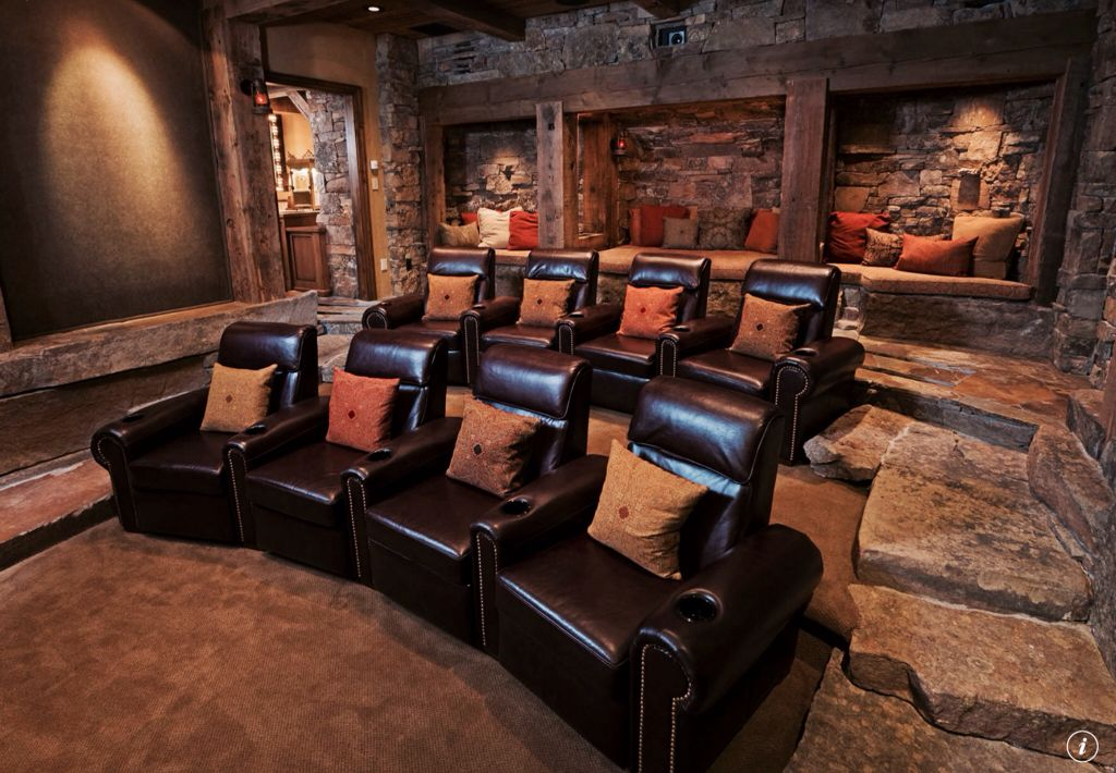 Rustic Home Theater with Columns & Carpet | Zillow Digs ...