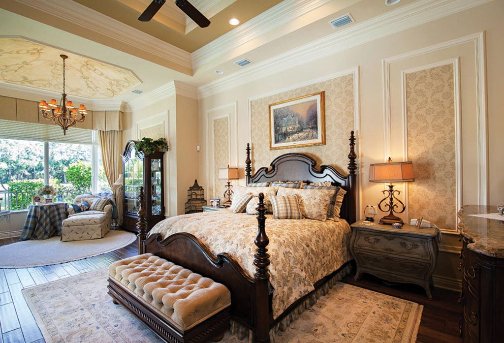 Traditional Master Bedroom with interior wallpaper by The Corcoran ...