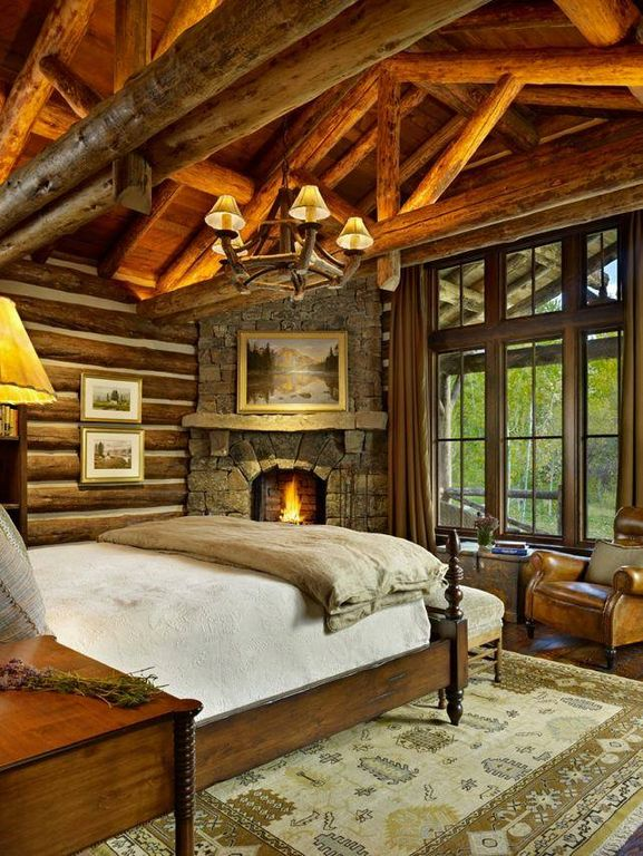 rustic master bedroom. Rustic Master Bedroom with stone fireplace  Carpet Exposed beam Pendant Light Cathedral Design Ideas Pictures Zillow Digs