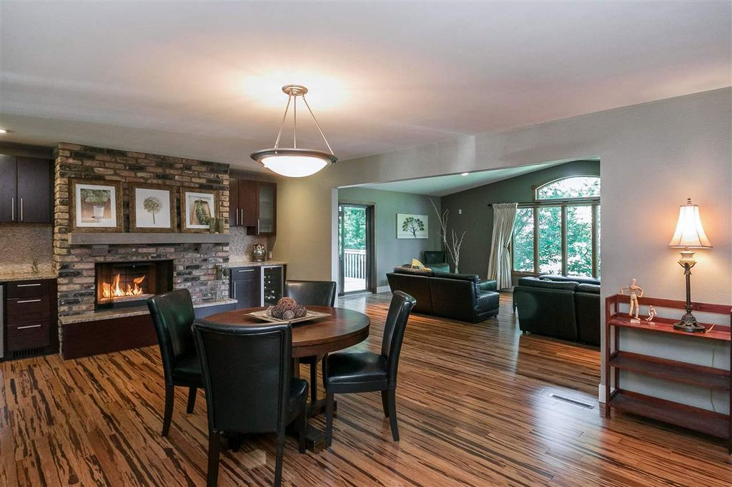 Contemporary Dining Room With Pendant Light Stone Fireplace In Solon Ia Zillow Digs Zillow