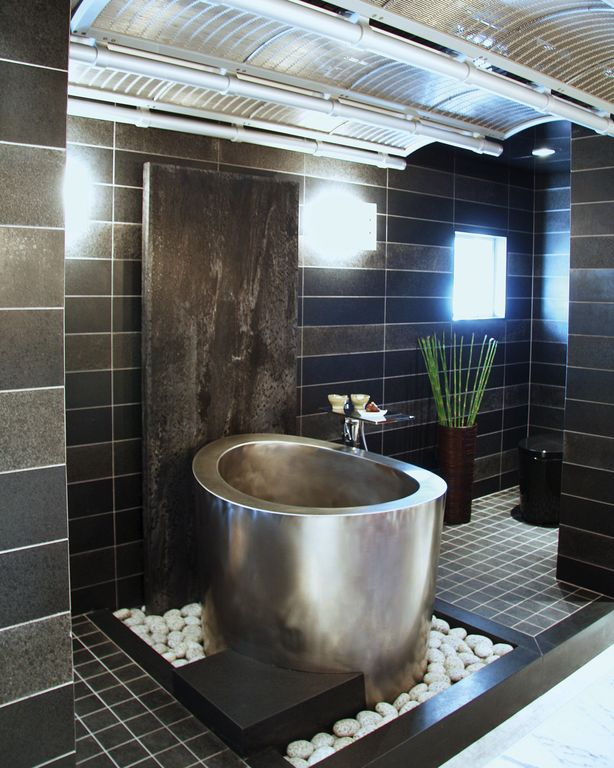 Modern Master Bathroom With Black Space Granite Countertop Round Stainless Steel Hot