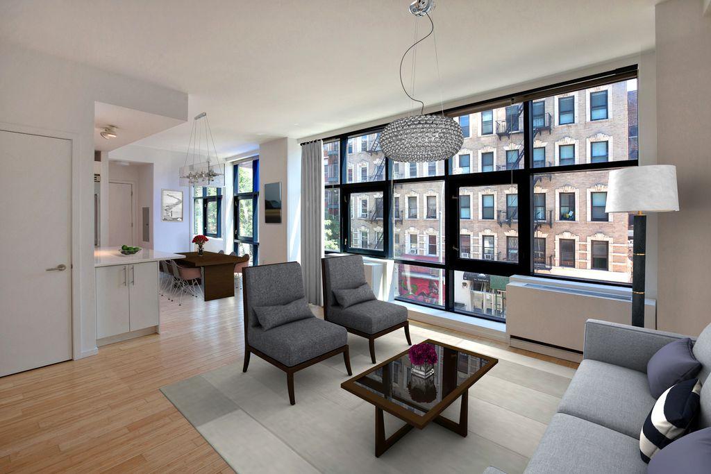 Contemporary Living Room With Hardwood Floors High Ceiling Pendant Light Carpet Foscarini