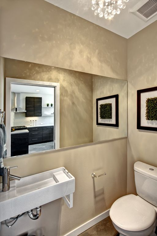 5 Tags Modern Powder Room With Custom Mirrors, Wall Mounted Sink,  Chandelier, Toto CST416M# Great Pictures