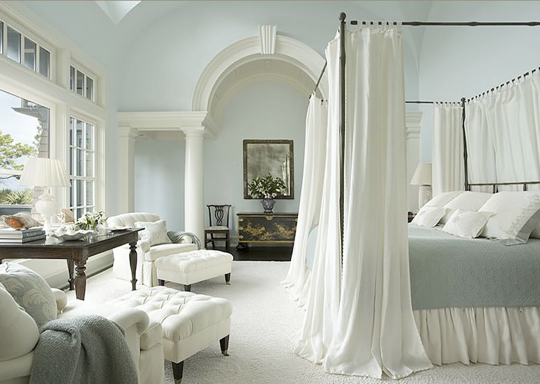 Traditional Master Bedroom With High Ceiling, Columns, Charles P. Rogers  Cairo Canopy Bed
