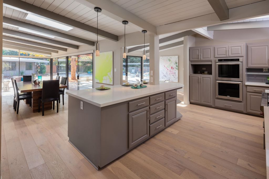 Modern Kitchen With Exposed Beam, Sutton Cliffs Square Cabinets, Wire  Brushed European Lighthouse White