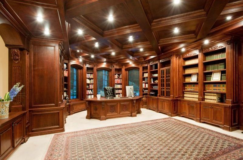traditional home office with shaw carpet beige coffered ceiling laminate floors bellmont