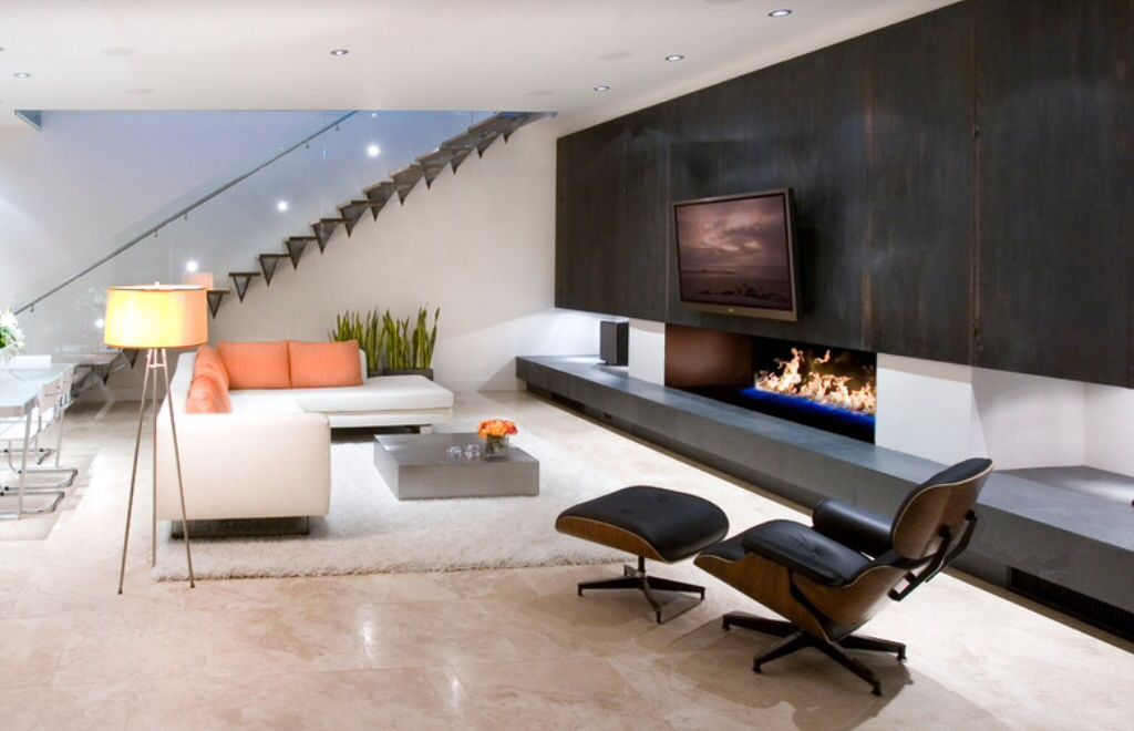 contemporary living room with sandstone floors | zillow digs | zillow