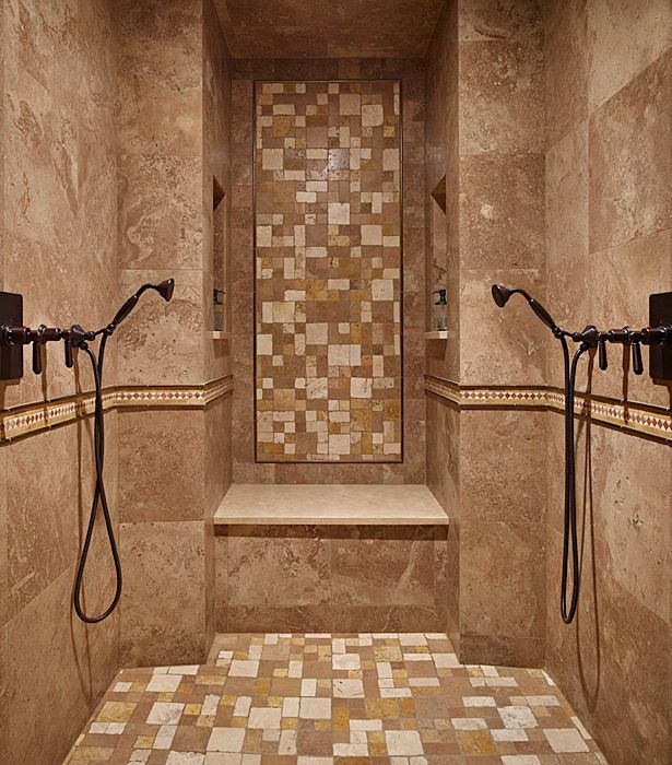 mediterranean master bathroom with delta venetian bronze hand shower package dual shower heads jurastone - Bathroom Ideas Large Shower