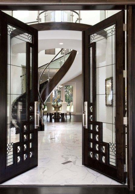 Contemporary Front Door With Borano Custom Door, Exterior Stone Floors, Glass  Panel Door