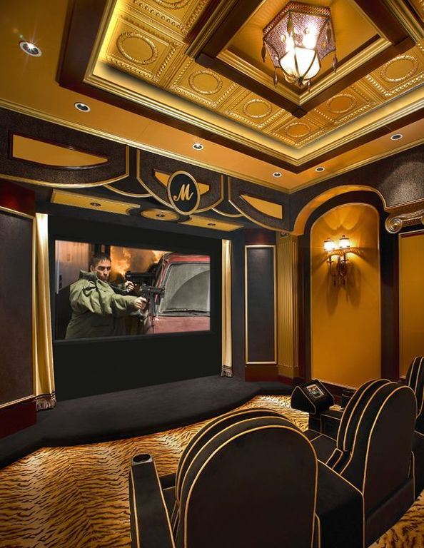 Art Deco Home Theater with flush light  Wall sconce  Box ceiling  Carpet. Art Deco Home Theater with Crown molding   Box ceiling   Zillow