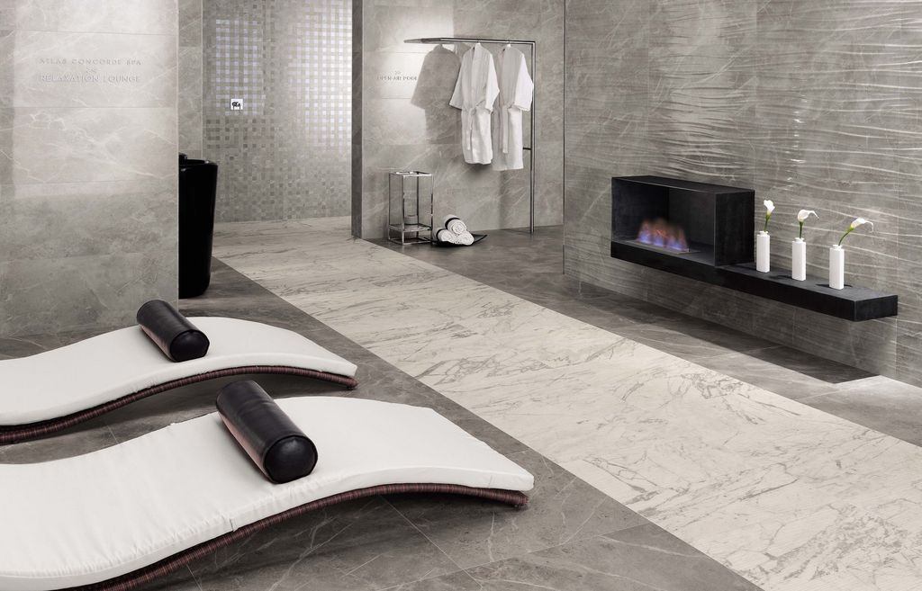 Contemporary Master Bathroom With Slate Tile Floors By