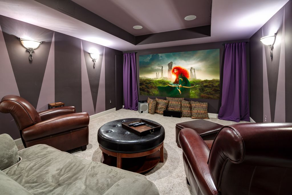 5 Tags Art Deco Home Theater With Projector, Wall Sconce, High Ceiling,  Livex Lighting Brookside