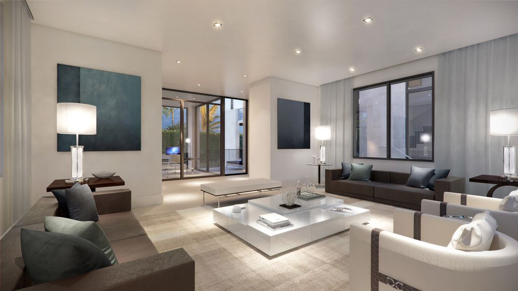 Modern Living Room With Limestone Tile Floors Amp High