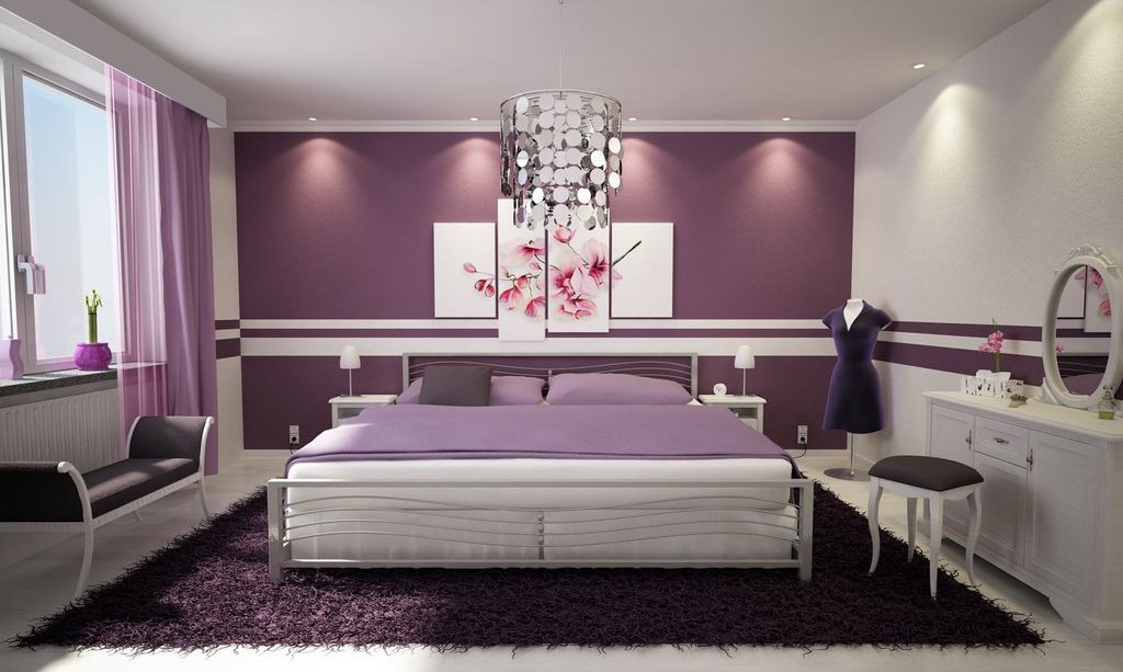 Purple Modern Master Bedroom modern master bedroom with chair rail & concrete tile | zillow