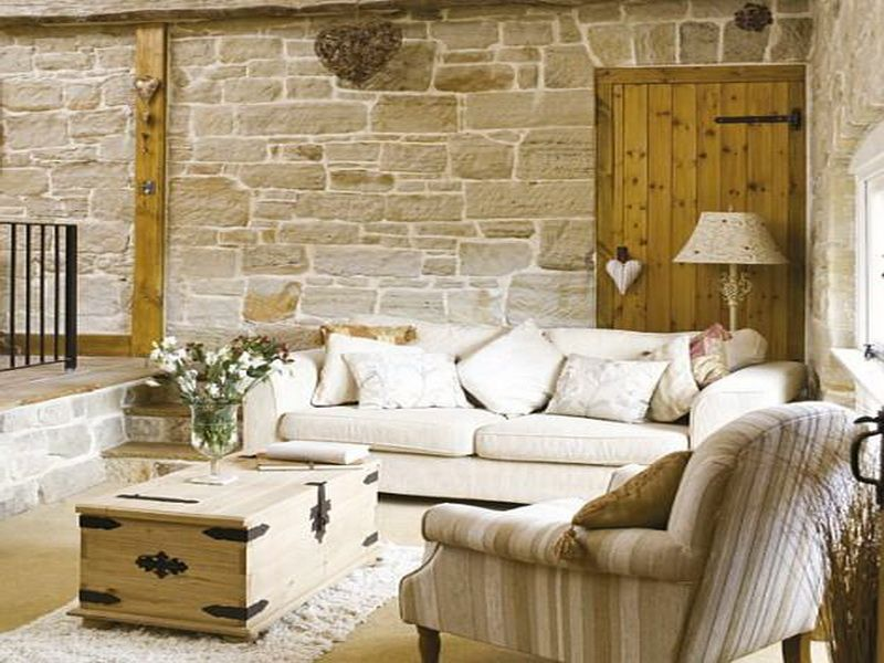 Traditional Living Room with Concrete floors & Barn door ...