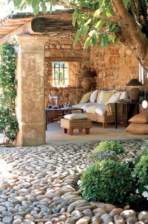 Cottage Porch with exterior tile floors & exterior stone floors ...