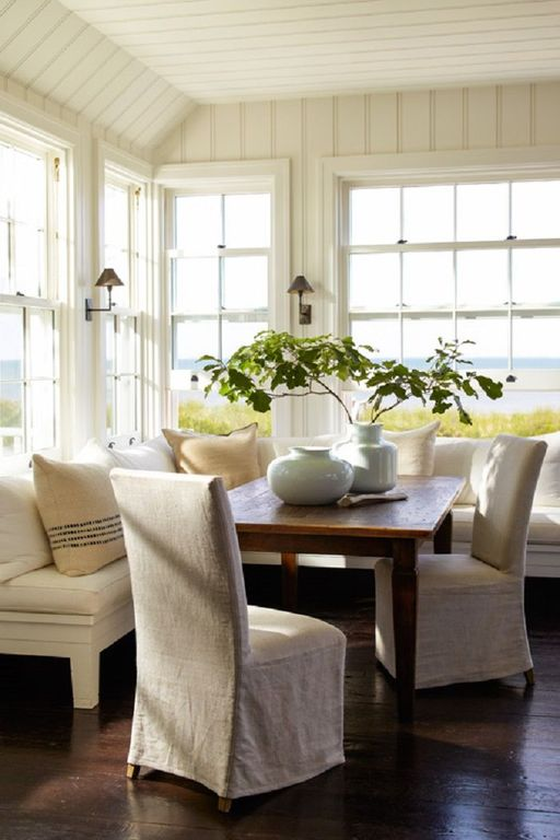 Cottage Dining Room With Restoration Hardware Petite Candlestick Sconce  With Metal Shade, Hardwood Floors,