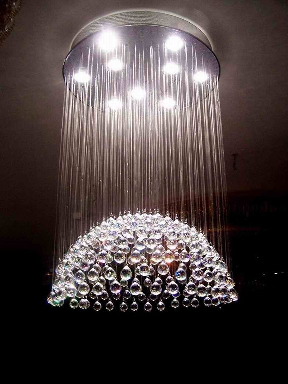 Art Deco Dining Room With Modern Light Fixture, Gallery Crystal Empire 6  Light Chandelier