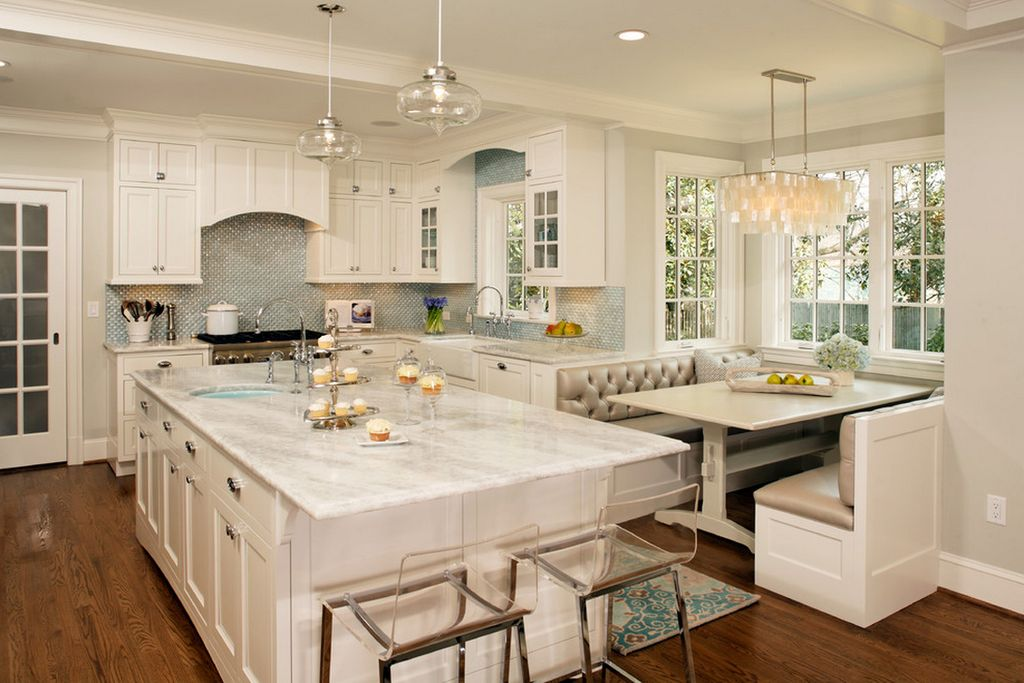 Contemporary Kitchen with Chandelier, European Cabinets, Window seat, Inset  cabinets, French doors