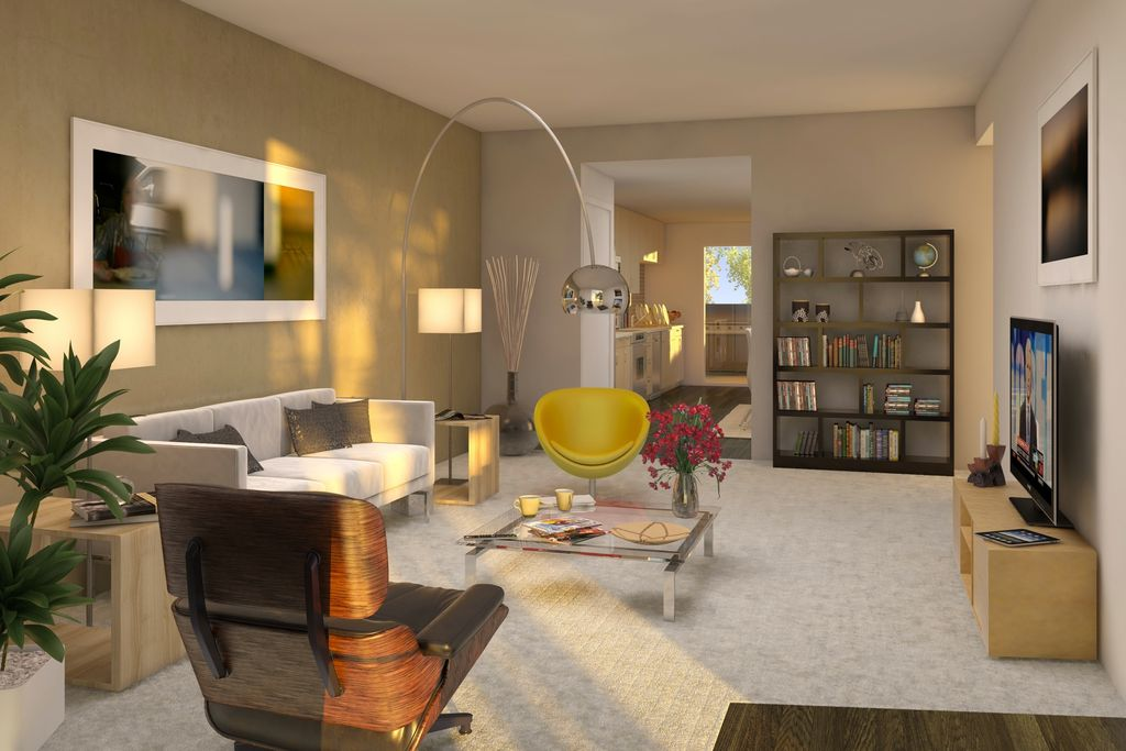 Modern Living Room With Eames Lounge Chair Ottoman Florence Knoll Sofa Polished