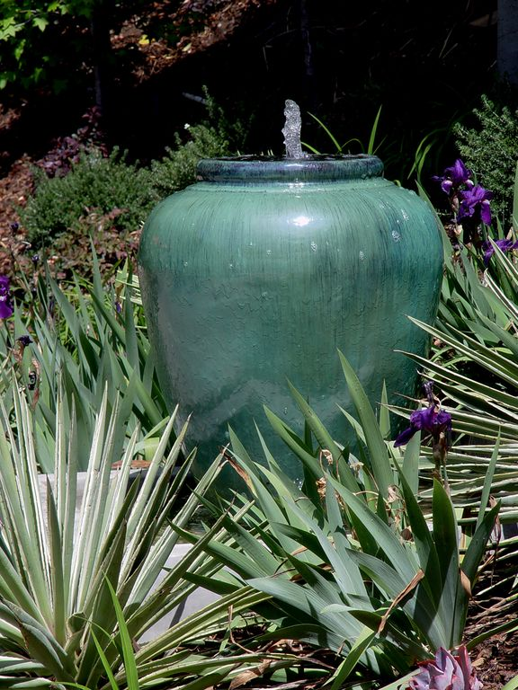 Eclectic Landscape/Yard With Design Toscano Burnt Umbra Ceramic Jar Garden  Urn Fountain, Garden