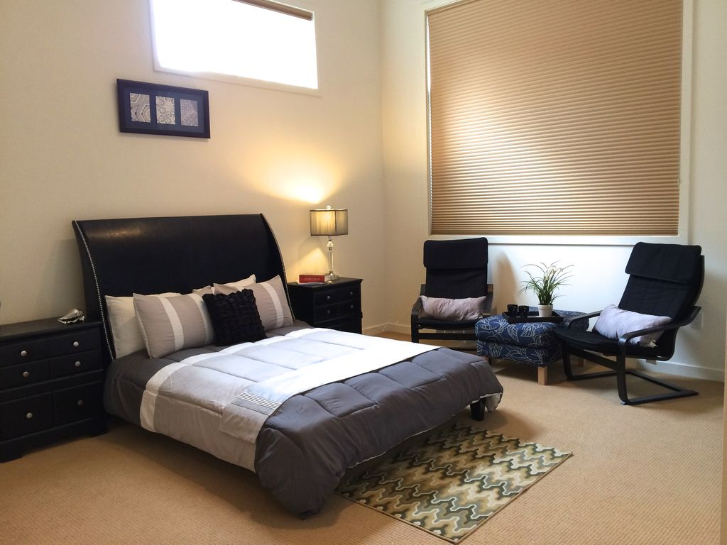 Modern Master Bedroom With Modus City Ll Sleigh Bed, FlashFurniture  Contemporary Leather Recliner And Ottoman