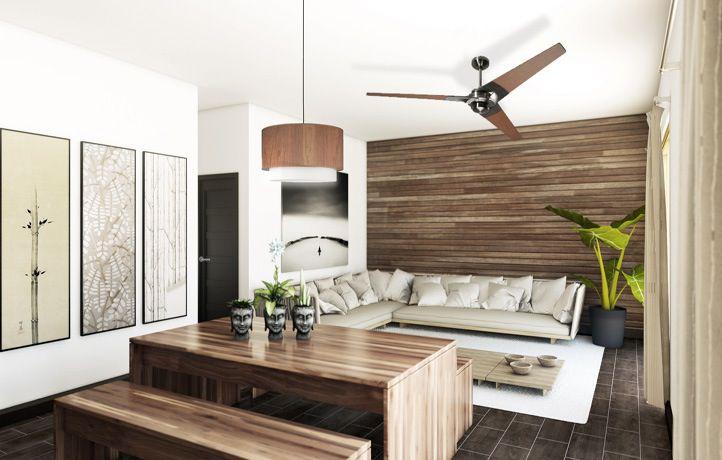 torsion ceiling fan. modern living room with pendant light, ceiling fan, hardwood floors, daltile bay bridge torsion fan c