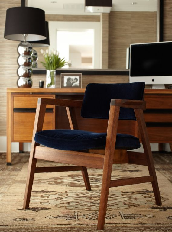 contemporary home office with danish mid century modern teak desk west elm coppice armchair