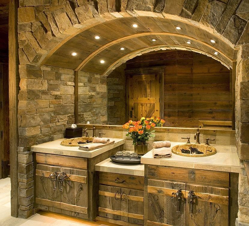 Rustic Full Bathroom With Drop In Sink Amp Specialty Door
