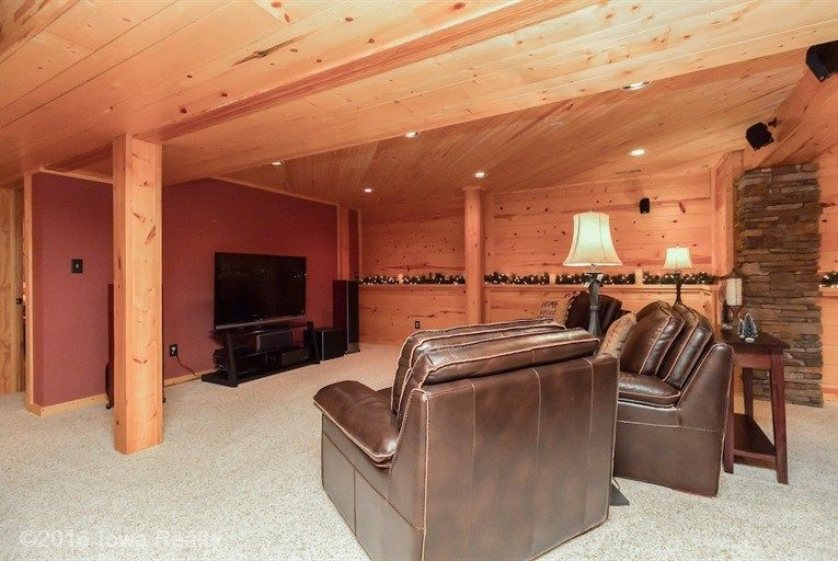 Rustic basement with columns carpet in west des moines for Design my basement online free