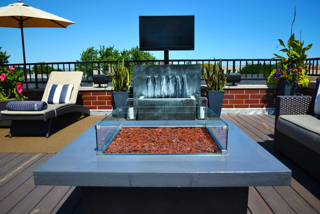 Modern Deck With Pond, Fountain, Crate And Barrel Ventura Collection Patio  Furniture, Fire