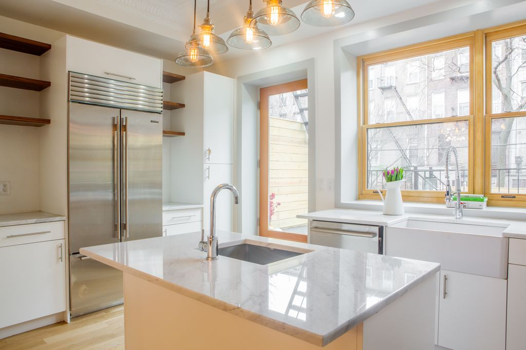 Contemporary kitchen with l shaped kitchen island in for Modern kitchen designs brooklyn ny
