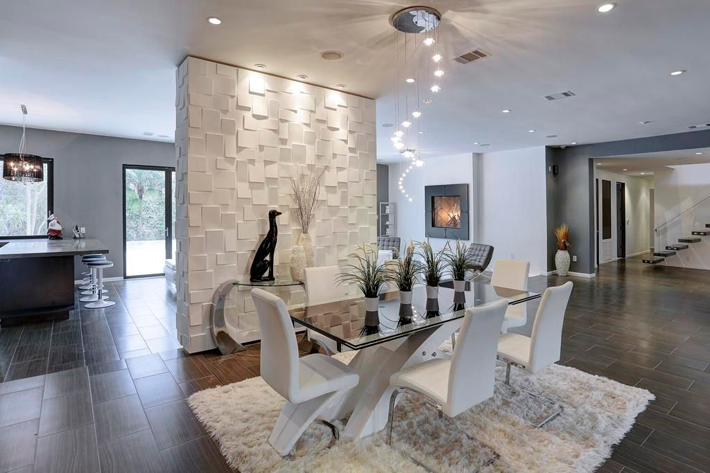 Modern Dining Room With Bubbles Lighting Collection 3D Wall Cubes Wainscot Panels Travertine Tile
