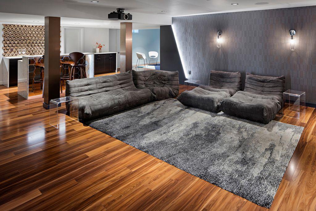 Modern Columns modern living room with hardwood floorsid8 design studio